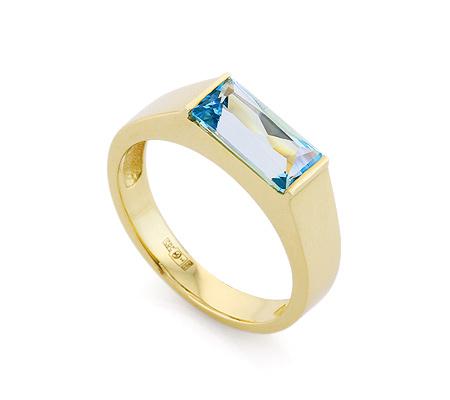 Фото«VL-6706»Золотое кольцо с топазом огранки багет
