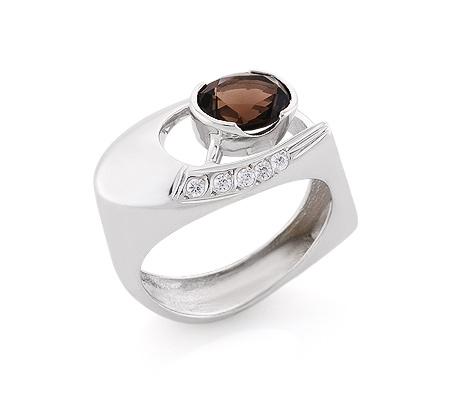 Фото«VL-6711»Серебряный перстень с раухтопазом и фианитами