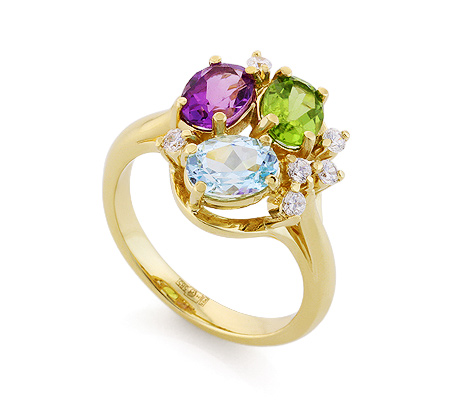 Фото«VL-6719»Золотое кольцо с топазом, аметистом и хризолитом