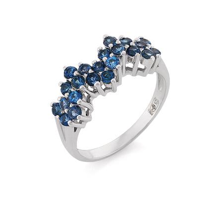 Фото«VL-6728»Серебряное кольцо с топазами Лондон «London Blue»