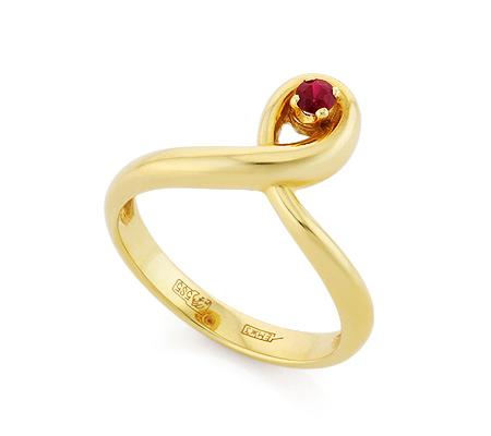 Фото«VL-6751»Кольцо с рубином желтое золото