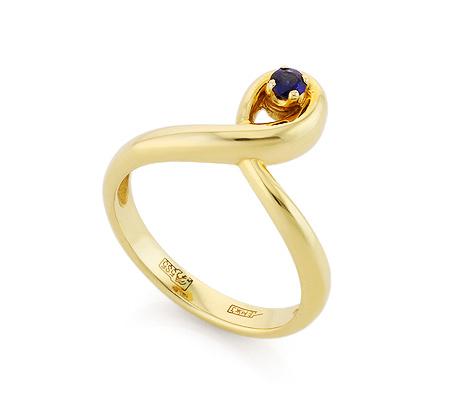 Фото«VL-6766»Кольцо с сапфиром из желтого золота