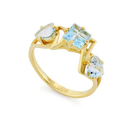Фото«VL-6769»Золотое кольцо с голубыми топазами