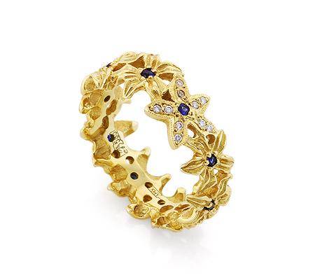 Фото«VL-6774»Эксклюзивное кольцо с сапфирами и бриллиантами золото