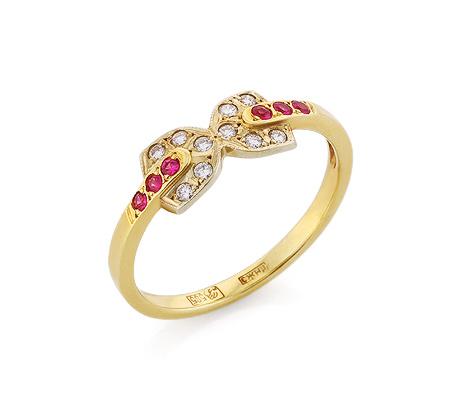 Фото«VL-6779»Золотое кольцо с рубинами и бриллиантами