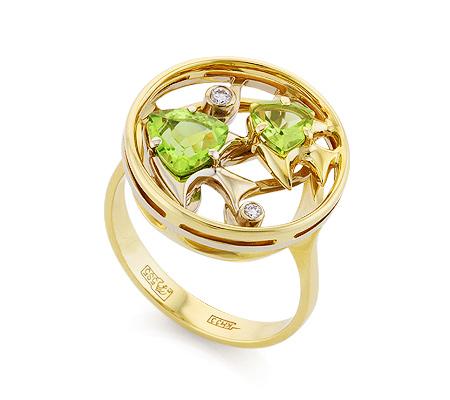 Фото«VL-6782»Перстень с хризолитом «Рыбки» из желтого золота