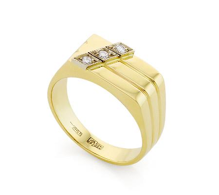 Фото«VL-8134»Золотая печатка c бриллиантами мужская