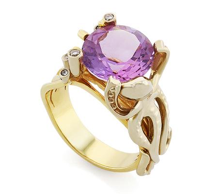 Фото«VL-9682»Эксклюзивное золотое кольцо с аметистом «Осьминог»