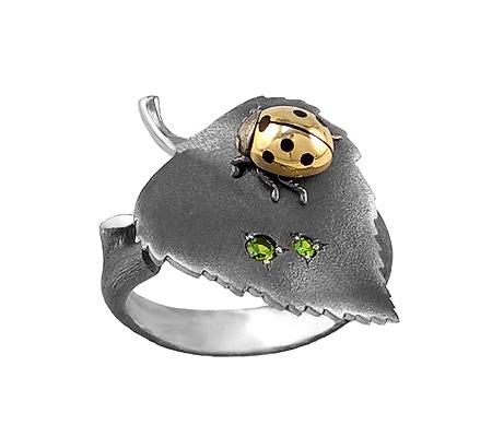 Фото«VM-107»Кольцо на заказ из серебра и золота «Березовый лист»