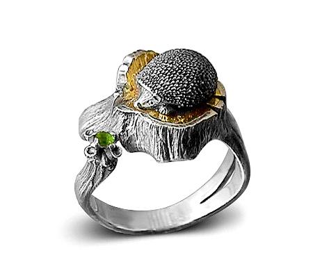 Фото«VM-201»Кольцо «Ёжик» из серебра и золота - на заказ