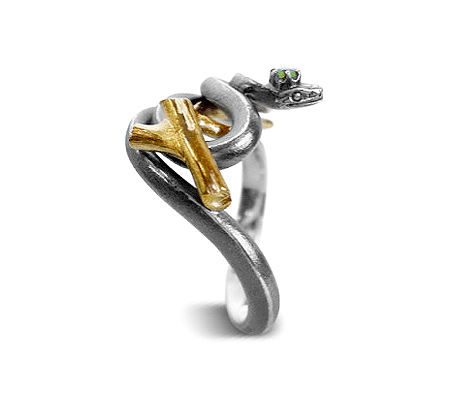Фото«VM-203»Кольцо «Змея» из серебра и золота - на заказ