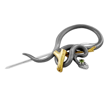 Фото«VM-204»Брошь-заколка на заказ из серебра и золота «Змея»