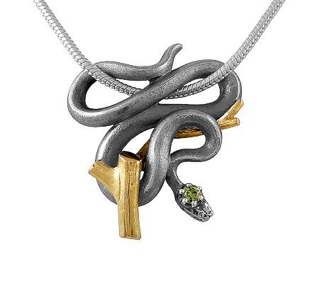 Фото«VM-205»Кулон на заказ из серебра и золота «Змея»