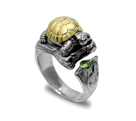 Фото«VM-207»Кольцо «Черепашка» из серебра и золота - на заказ