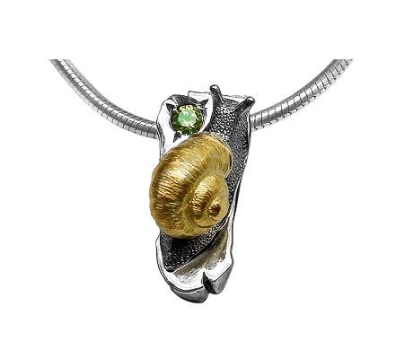 Фото«VM-307»Кулон на заказ из серебра и золота «Улитка»
