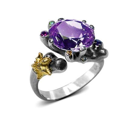 Фото«VM-401»Кольцо на заказ из серебра и золота «Лагуна»