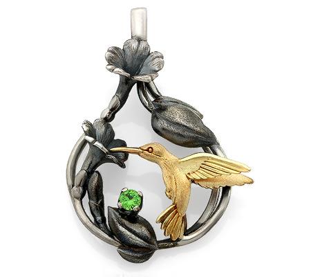 Фото«VM-487»Подвеска «Колибри» из серебра и золота на заказ