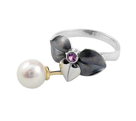 Фото«VM-507»Кольцо на заказ из серебра и золота «Сирень»