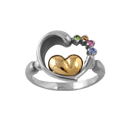 Фото«VM-511»Кольцо на заказ из серебра и золота «Два сердца»