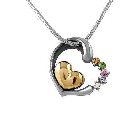 Фото«VM-512»Кулон на заказ из серебра и золота «Два сердца»