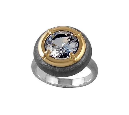 Фото«VM-601»Кольцо на заказ из серебра и золота «Круг 9»
