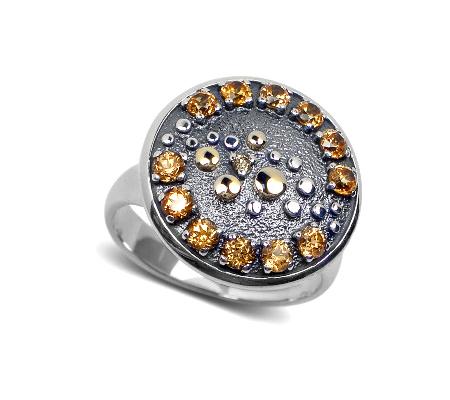 Фото«VM-607»Кольцо на заказ из серебра и золота «Созерцание»