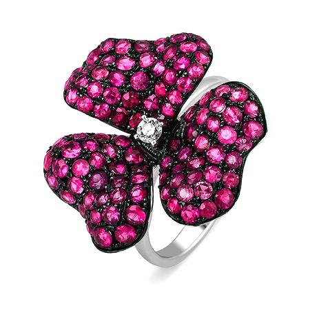 Фото«ZG-5211»Золотое кольцо с розовыми сапфирами белое золото