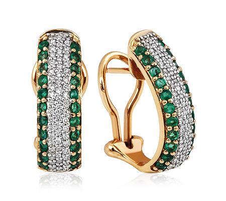 Фото«ZG-5610»Золотые серьги с изумрудами и бриллиантами