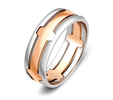 Фото«ZG-20003»Обручальное кольцо из белого и красного золота парное