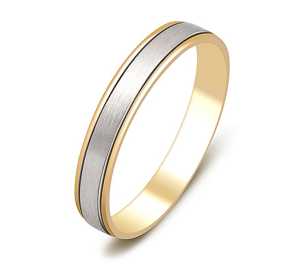 Фото«ZG-20004»Обручальное кольцо из желтого и белого золота парное