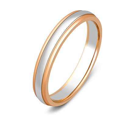 Фото«ZG-20005»Обручальное кольцо из белого и красного золота парное