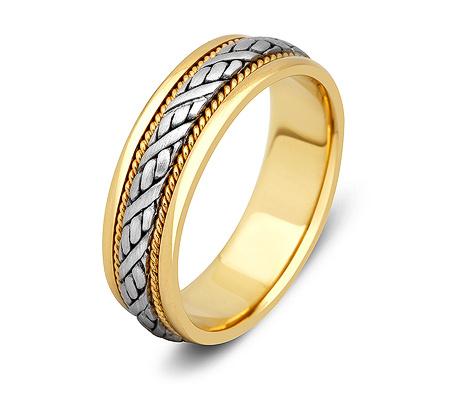 Фото«ZG-20007»Обручальное кольцо из золота косичка парное