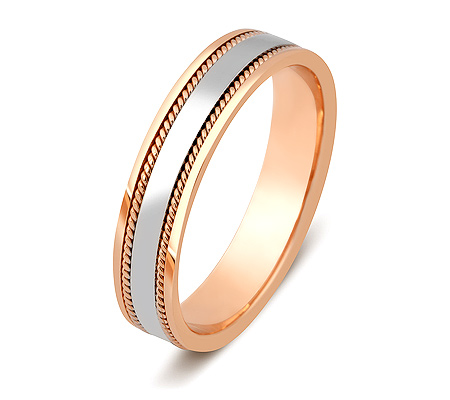 Фото«ZG-20008»Обручальное кольцо из розового золота с белым парное