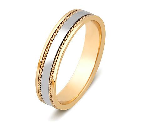 Фото«ZG-20009»Обручальное кольцо из желтого золота с белым парное