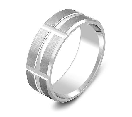 Фото«ZG-20010»Широкое обручальное кольцо из белого золота парное