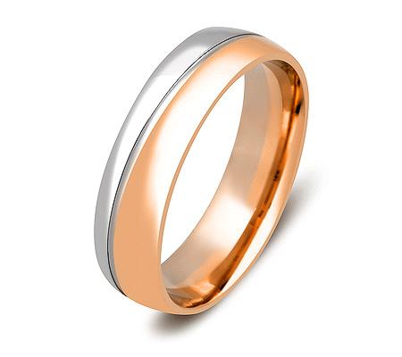 Фото«ZG-20014»Парное обручальное кольцо из розового и белого золота
