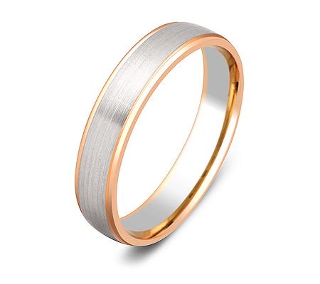 Фото«ZG-20016»Парное обручальное кольцо из белого и розового золота