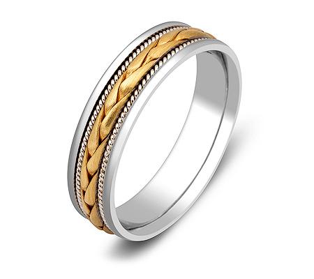 Фото«ZG-20018»Обручальное кольцо из белого и желтого золота косичка