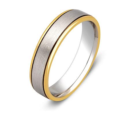 Фото«ZG-20020»Обручальное кольцо из двух цветов золота парное