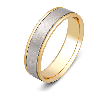 Фото«ZG-20021»Обручальное кольцо из желтого и белого золота парное