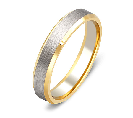Фото«ZG-20023»Обручальное кольцо из белого и желтого золота парное