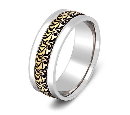Фото«ZG-20025»Обручальное кольцо из белого и желтого золота парное