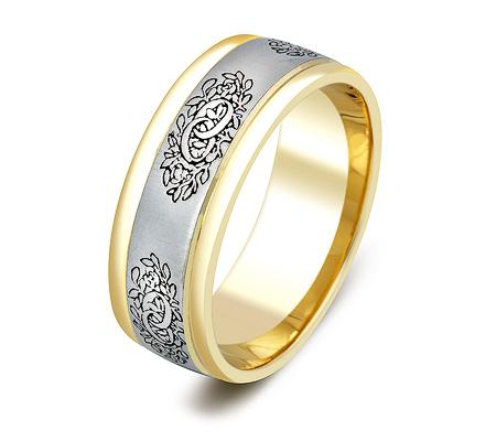 Фото«ZG-20026»Красивое обручальное кольцо из желтого золота с белым