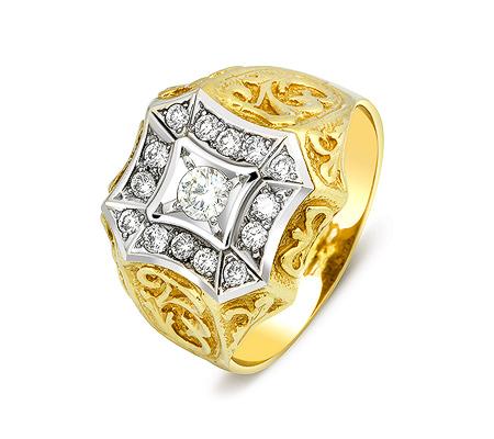 Фото«ZG-2006»Мужская печатка из желтого золота с бриллиантами