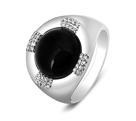 Фото«ZG-2008»Золотой мужской перстень с ониксом и бриллиантами
