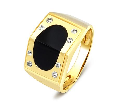 Фото«ZG-2011»Мужское кольцо с ониксом и бриллиантами желтое золото