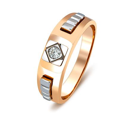 Фото«ZG-2016»Золотое мужское кольцо с бриллиантом