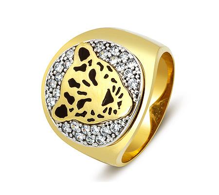 Фото«ZG-2026»Золотое мужское кольцо «Ягуар» эмаль, циркон
