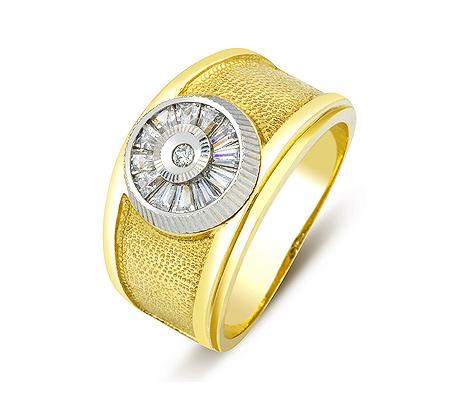 Фото«ZG-2027»Золотое мужское кольцо с цирконами в желтом золоте