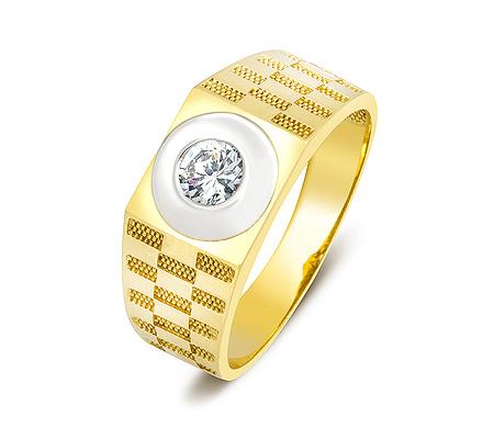Фото«ZG-2028»Мужское золотое кольцо с цирконом желтое золото